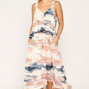 2/$50 Gigio Umgee Maxi Dress Tie Dye Pocket Ruffle